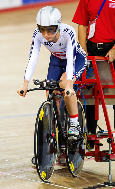 07 DEC 2014 - STRATFORD, LONDON, GBR - Laura Trott (GBR) racing for Great Britain concentrates as she waits for the start of the Women's Omnium 500m Time Trial during the 2014 UCI Track Cycling World Cup  at the Lee Valley Velo Park in Stratford, London, Great Britain (PHOTO COPYRIGHT © 2014 NIGEL FARROW, ALL RIGHTS RESERVED) (NIGEL FARROW/COPYRIGHT © 2014 NIGEL FARROW : www.nigelfarrow.com)