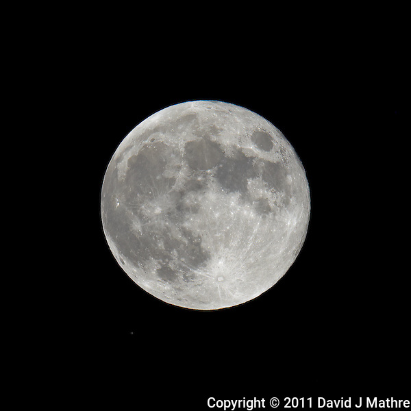 Late Spring Full Moon over New Jersey. Image taken with a Nikon D3x and 600 mm f/4 VR lens (ISO 100, 600 mm, f/16, 1/50 sec) on a Gitzo tripod and Wimberley Head. Raw image processed with Capture One Pro, Focus Magic, and Photoshop CS5 (David J Mathre)
