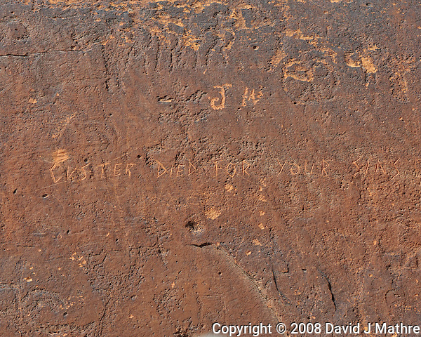 Sand Island Petroglyphs + Modern Graffiti. Image taken with a Nikon D3 and 70-200 mm f/2.8 VR lens (ISO 200, 116 mm, f/11, 1/250 sec) (David J Mathre)