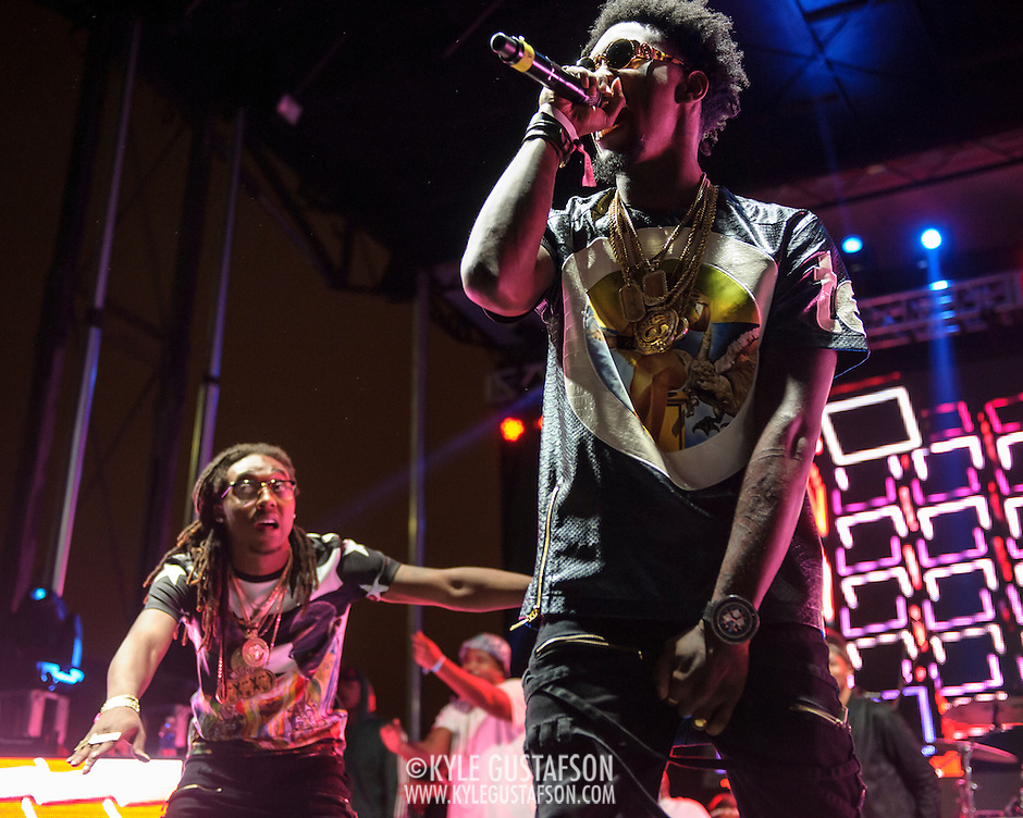 "WASHINGTON, DC - August 23rd, 2014 - Takeoff and Offset of Atlanta rap trio Migos perform at the 3rd annual Trillectro Music Festival at RFK Stadium in Washington, D.C. The group is known for their singles ""Versace"" and ""Hannah Montana."" (Photo by Kyle Gustafson / For The Washington Post) (Kyle Gustafson/For The Washington Post)"