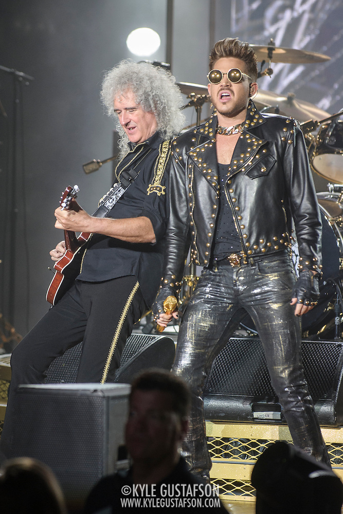 COLUMBIA, MD - July 20th, 2014 - Adam Lambert and Brian May of Queen perform at Merriweather Post Pavilion in Columbia, MD. Lambert is handling vocal duties for the group on their current US tour. (Photo by Kyle Gustafson / For The Washington Post) (Kyle Gustafson/For The Washington Post)