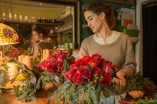 Lead Designer Larisa Minerva works at Bell and Trunk floral design studio in San Francisco (Clark James Mishler)