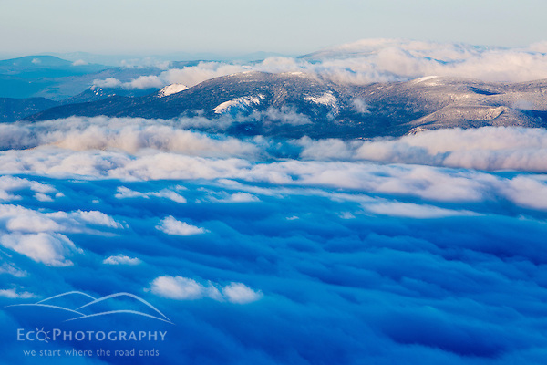Clouds moving over the White Mountains as seen from the summit of New Hampshire's Mount Washington. (Jerry Monkman)