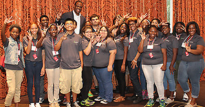 David Robinson with students from Davis, Jordan and Worthing high schools (Houston Independent School District)