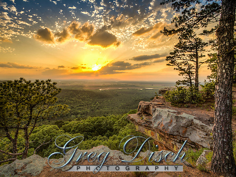 Sunset from Petit Jean Sate Park in cental Arkansas. Looking to the west from the CCC overlook at the Arkansas River valley below. (Greg Disch)