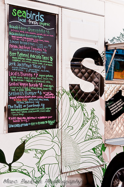 A colorful menu for colorful food that's differnet from your typical food truck sliders and quesadillas.  I got there too late to enjoy their breakfast fare (that whole waking up early thing is hard). (Marc C. Perkins)