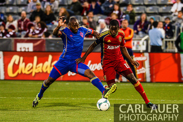 April 6th, 2013 - Colorado Rapids defender Marvell Wynne (22) steps in front of Real Salt Lake forward Olmes Garcia (13) to attempt to steal the ball in the second half of the MLS match between Real Salt Lake and the Colorado Rapids at Dick's Sporting Goods Park in Commerce City, CO (Carl Auer/Newsport)