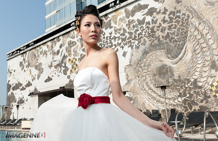 Wedding promotion photo for W Hotel Hong Kong..Model: Phuong Rouzaire.Makeup Artist: Rhine Wong.Hair Stylist: Tim Wong.Photographer: Imagennix | Scott Brooks.Location: Wet Deck (Scott Brooks)