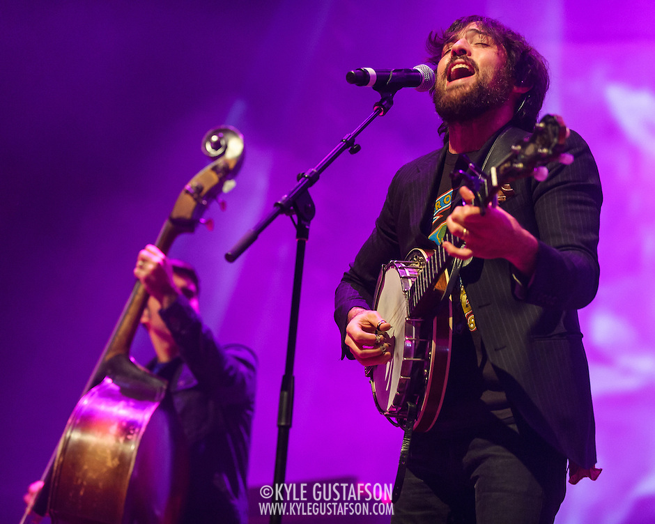 FAIRFAX, VA - February 28th, 2014 - Bob Crawford and Scott Avett of The Avett Brothers perform at the Patriot Center in Fairfax, VA. Their latest album, Magpie and the Dandelion, reached #5 on the U.S. Billboard 200 chart. (photo by Kyle Gustafson / For The Washington Post) (Kyle Gustafson/For The Washington Post)