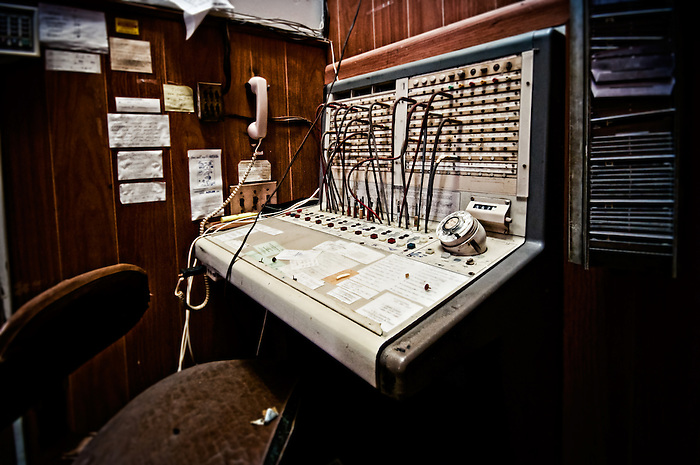"An old phone switchboard in the Abandoned Hotel Adler in Sharon Springs NY New York. This image was the grand prize winner in Ron Howard and Canon's Project Imaginat10n and inspired the short film ""Out of the Blue"" starring (and directed by) Eva Longoria. (Walter Arnold)"
