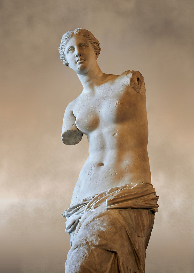 """Venus de Milo ( Aphrodite of Milos ) A 203cm (6ft 8in)  marble statue from the Greek Island of Milos sculpted in 130 and 100 BC thought to be the work of Alexandros of Antioch;. Louvre Museum, Paris.  The Aphrodite of Milos was discovered on 8 April 1820 by a peasant named Yorgos Kentrotas, inside a buried niche within the ancient city ruins of Milos, the current village of Tripiti, on the island of Milos  in the Aegean, which was then a part of the Ottoman Empire. The statue was purchase by the French ambassador to Turkey and it was shipped to France. Legend has it that the statues arms were broken off during transport but this story however proved to be a fabrication – Voutier's drawings of the statue when it was first discovered show that its arms were already missing. In 1815, France had returned the Medici Venus,  to the Italians after it had been looted from Italy by Napoleon Bonaparte. The Medici Venus, regarded as one of the finest Classical sculptures in existence, caused the French to promote the Venus de Milo as a greater treasure than that which they recently had lost. The de Milo statue was praised dutifully by many artists and critics as the epitome of graceful female beauty. However, Pierre-Auguste Renoir was among its detractors, labeling it a """"big gendarme"""". (Paul E Williams)"""