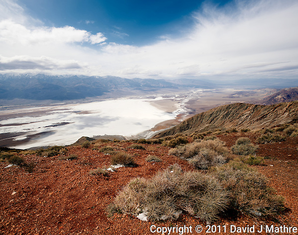 Panorama from Dantes View, Death Valley National Park. Composite of 4 images taken with a Nikon D3x and 24 mm PC-E lens (ISO 100, 24 mm, f/16, 1/100 sec). Panorama created using AutoPano Giga Pro including the Neutralhazer plugin. (David J Mathre)