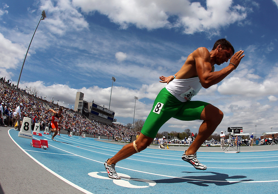 Baylor's Gabriel El Hanbli charges out tof the blocks at the start of the 400 meter hurdles at the Drake Relays on April 30 in Des Moines. (Christopher Gannon/The Register)