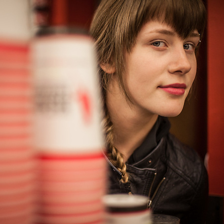 Barista Courtny Hodsdon at the City Market, Anchorage (© Clark James Mishler)