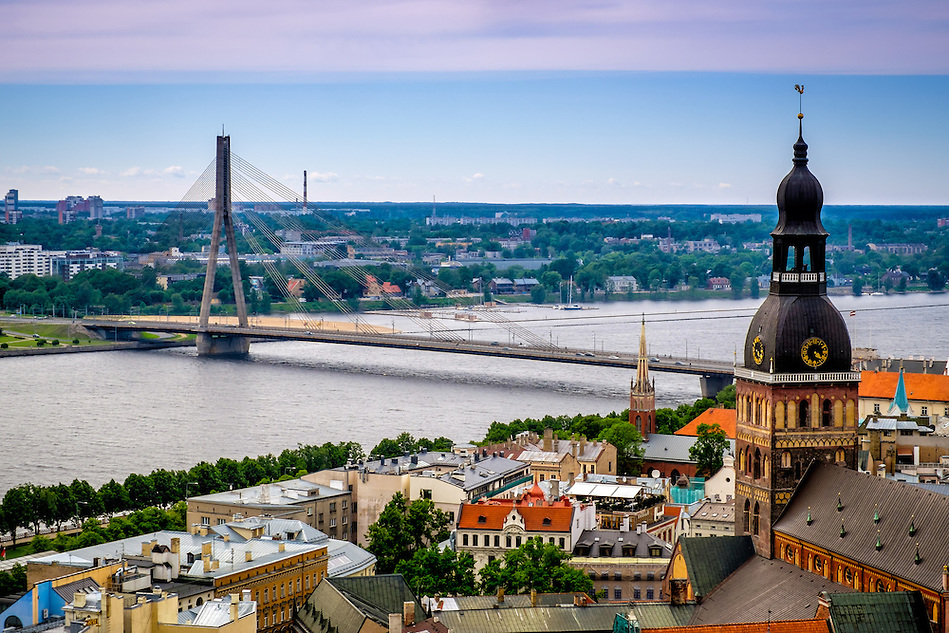 RIGA, LATVIA - CIRCA JUNE 2014: Aerial view of Old Town Riga and the Vansu Bridge over the Daugava River (Daniel Korzeniewski)