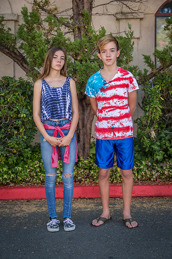 """I like being older and I don't care that he is taller...I'm still in charge.""    -Star Rios (14) with her brother Liam (13) visit the Calistoga Saturday Market. (Clark James Mishler)"