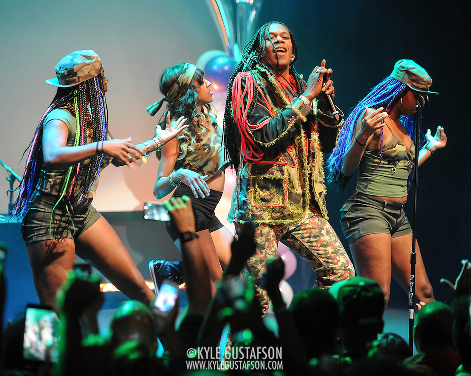 """WASHINGTON, DC - October 2nd, 2014 - Big Freedia (center, with mic) performs at the Howard Theatre in Washington, D.C.  Freedia is credited with bringing New Orleans """"bounce music"""" to the masses. His latest album, Just Be Free, was released in June. (Photo by Kyle Gustafson/For The Washington Post) (Kyle Gustafson/For The Washington Post)"""