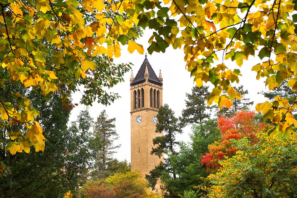 Fall colors bloom around the Campanile on the campus of Iowa State University in Ames, Iowa. (Christopher Gannon/Gannon Visuals) (Christopher Gannon)