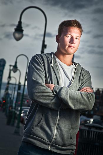University of Alaska Anchorage film student, Dmitry Surnin, on Fourth Avenue, downtown Anchorage. (Clark James Mishler)