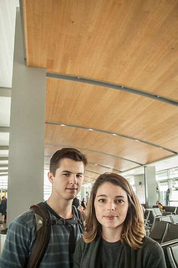 "Nick and Shelby Hall at the Sacramento airport   ""We met at school and got married in February...I have an engineering degree but I have decided I want to follow in my father's footsteps and, some day, run his Ford dealership in Idaho.""  shelbyzylstra@gmail.com (© Clark James Mishler)"