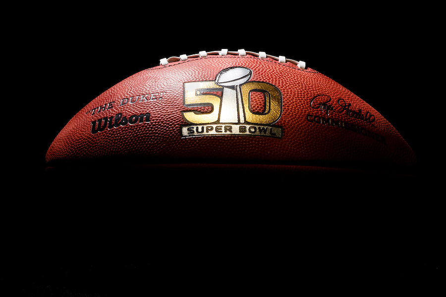 An official game ball for the NFL Super Bowl 50 football game is photographed, Tuesday, Jan. 26, 2016. The Wilson Sporting Goods football factory in Ada, Ohio has made the official Super Bowl football since the first Super Bowl in 1966. The company began making this year's game balls last Sunday night, Jan. 24, immediately after the conclusion of the NFC and AFC championship games. The Denver Broncos will play the Carolina Panthers in the Super Bowl on Feb. 7, in Santa Clara, CA. (AP Photo/Rick Osentoski) (Rick Osentoski/AP)
