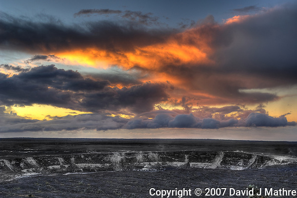 Sunrise over Kilauea Volcano Crater, Volcanoes National Park Hawaii. Image taken with a Nikon D2xs and 17-35 mm f/2.8 lens (ISO 100, 28 mm, f/5.). HDR composite of 7 images using Photomatix Pro (David J. Mathre)