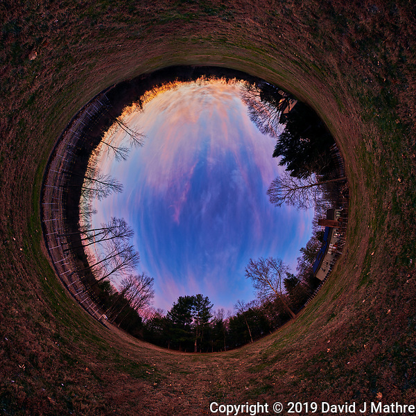 Autumn Dawn Clouds. Tunnel (Inverse Little Planet) View. Composite of 41 mage taken with a Nikon D850 camera and 8-15 mm fisheye lens (ISO 100, 15 mm, f/5, 1/30 sec). Raw images processed with Capture One Pro and Autopano Giga Pro. (DAVID J MATHRE)