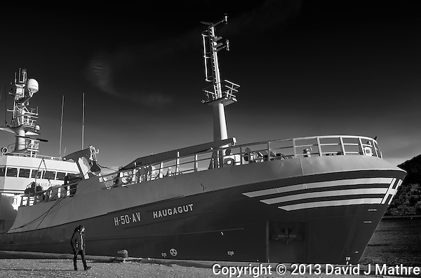 Haugagut H-50-AV fishing trawler docked in Tromsø, Norway. Image taken with a Leica X2 camera (ISO 100, 24 mm, f/5.6, 1/250 sec). Raw image processed with Capture One Pro (including conversion to B&W). (David J Mathre)