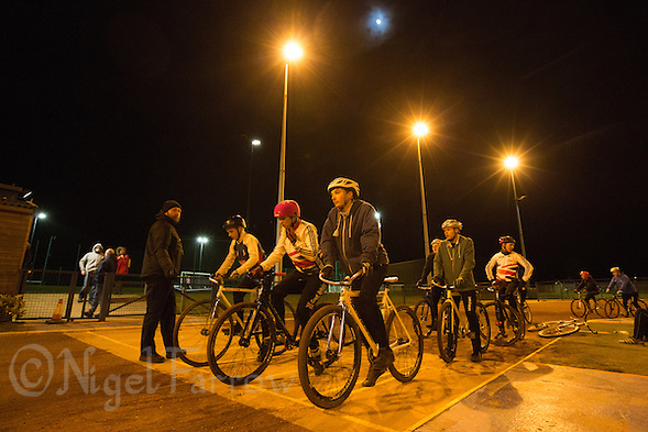 31 MAR 2015 - IPSWICH, GBR - Team members wait for the start of the next drill during an Ipswich Cycle Speedway Club training session at Whitton Sports and Community Centre in Ipswich, Great Britain (PHOTO COPYRIGHT © 2015 NIGEL FARROW, ALL RIGHTS RESERVED) (NIGEL FARROW/COPYRIGHT © 2015 NIGEL FARROW : www.nigelfarrow.com)