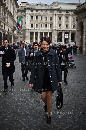 ROMA 15/03/2012: Inizia la XVII Legislatura della Repubblica Italiana. L'ingresso degli Onorevoli a Montecitorio. Nella foto Marta Grande M5S FOTO DI LORETO ADAMO (DI LORETO)