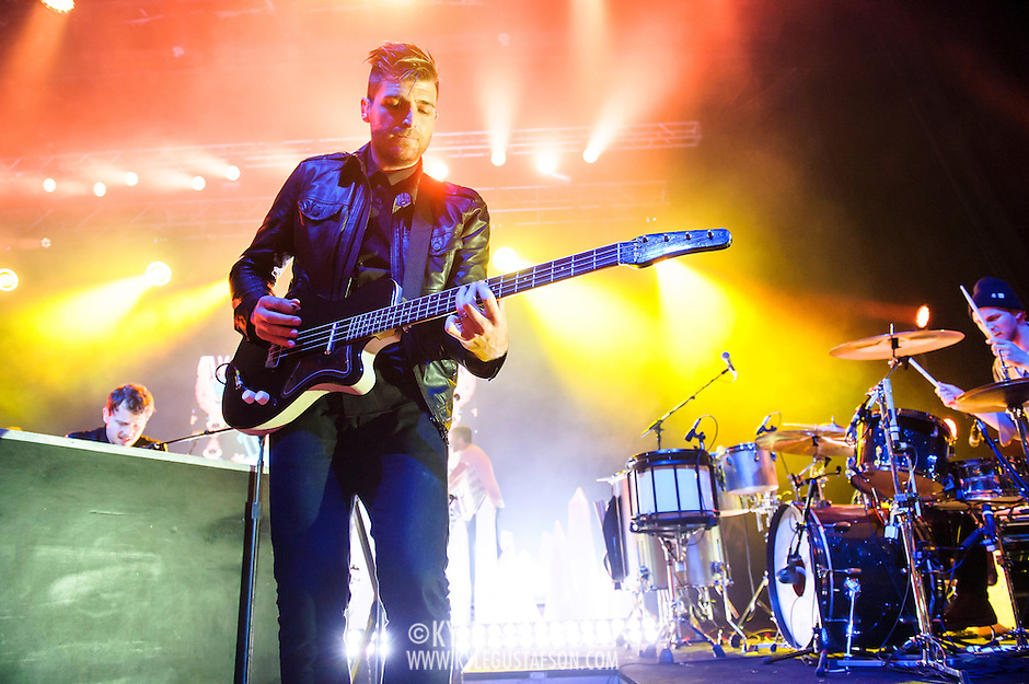 COLUMBIA, MD - May 10th, 2014 - Jacob Fink (middle) of Foster the People performs at the 2014 Sweetlife Festival at Merriweather Post Pavilion in Columbia, MD. The band released their sophomore album, Supermodel, in March. (Photo by Kyle Gustafson / For The Washington Post) (Kyle Gustafson/For The Washington Post)