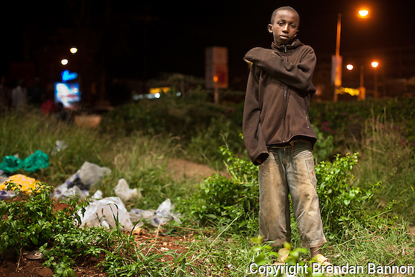Daniel Maina, 13, a street kid in Nairobi's Westlands neighborhood. (Photographer: Brendan Bannon)