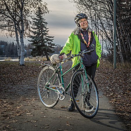 "The ""mother"" of Anchorage bike trails, Lanie Fleischer on the Lanie Fleischer Chester Creek Trail near Westchester Lagoon, Anchorage. (© Clark James Mishler)"