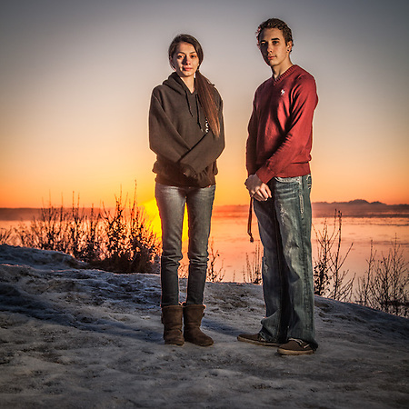 "Jessica Gonzalez (19) and Matthew Rhoades (18) just after sunset at Point Woronzof, Anchorage  ""I think I want to be a nurse…or a cook.""  -Jessica Gonzalez jessicaj.gonzalez907@yahoo.com (© Clark James Mishler)"