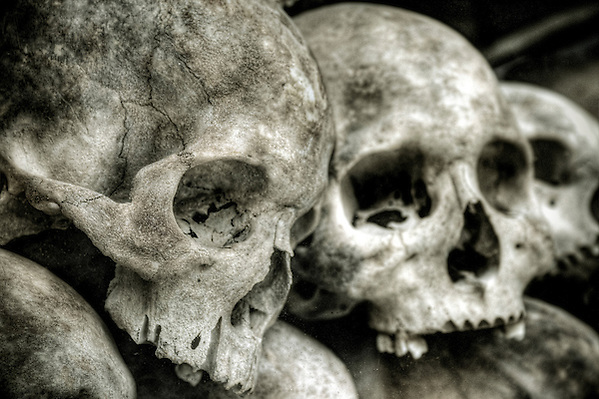 Skulls at the Killing Fields in Cambodia (@ David Henderson Photography)