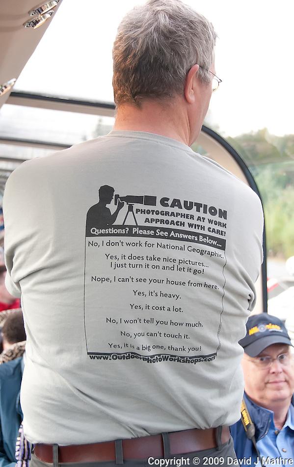 "Albert, A Big Photographer Wearing his ""Caution Photographer at Work"" Shirt. (David J Mathre)"