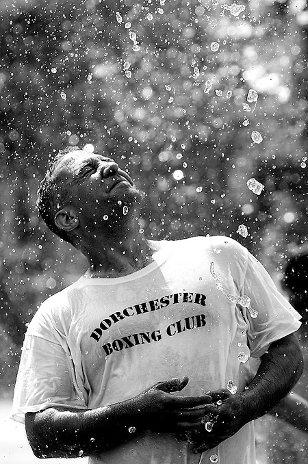 07/07/2013 -- BOSTON -- Jeff Shaw, of Holyoke, cools off at the Rose Kennedy Greenway fountain on July 7, 2013. Shaw, a mover, just wrapped up a cross-country move from the west coast, which he will repeat in 2 days. (Boston Herald Photo by Kelvin Ma) (Kelvin Ma)