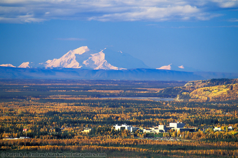 20, 3020+ Ft. Mt. Denali, Looms In The Distance Behind The University Of Alaska Fairbanks Campus And The Tanana River. (Patrick J. Endres / AlaskaPhotoGraphics.com)