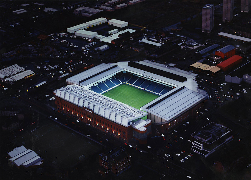 ARIEL VIEW OF FLOODLIT IBROX STADIUM SHOT AT DUSK, ROB CASEY PHOTOGRAPHY. (ROB CASEY/ROB CASEY PHOTOGRAPHY)