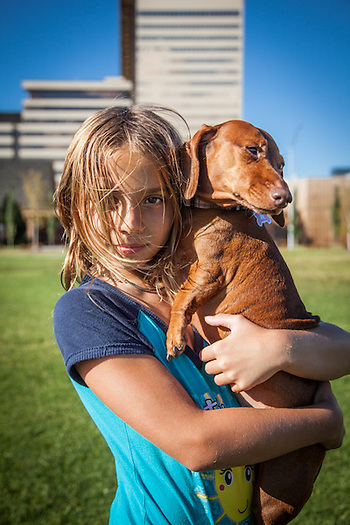 Nine year old Morgan Tullos with her dog, Layla, on the Delanie Park Strip  danna.grammer@gmail.com (Clark James Mishler)