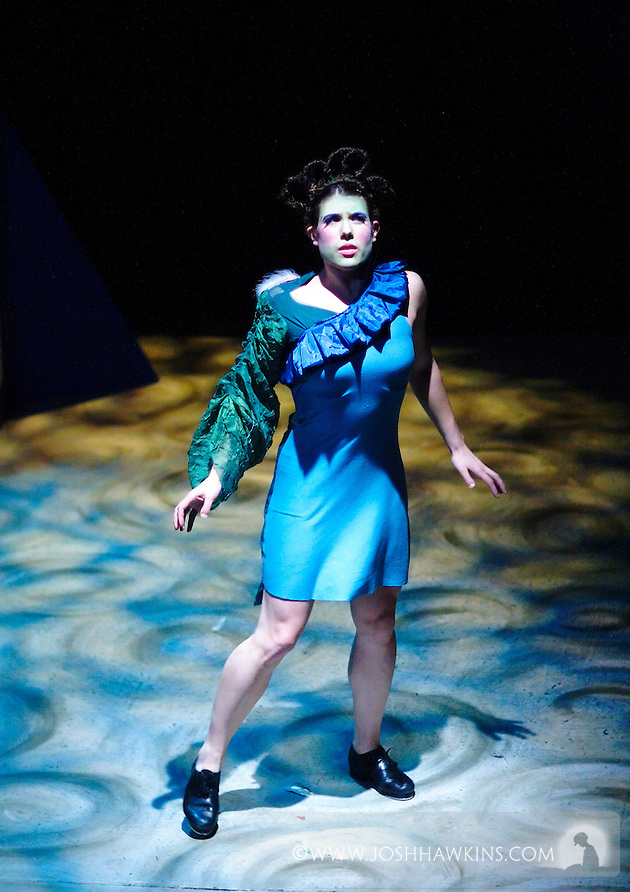"""Chicago Tap Theatre's production """"Changes"""" - A science fiction tap dance opera featuring the music of David Bowie at Stage 773 in Chicago...Jenna Deidel as """"Xathaniel"""" (Josh Hawkins)"""