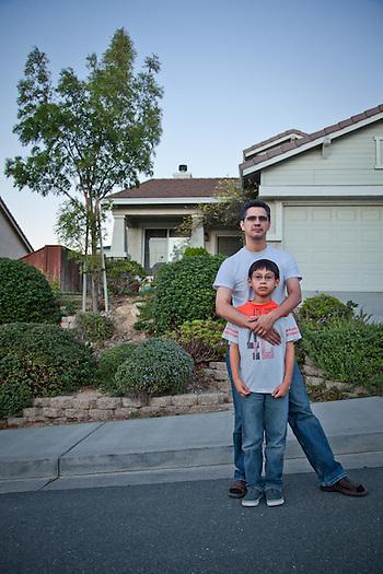 Eleven year old, Caleb Rodriquez, with his father, Edwardo, Oak Hills, Pittsburg, CA (Clark James Mishler)