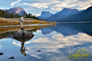 Fly-fisherman, Green River Lake, Wind River Mountains
