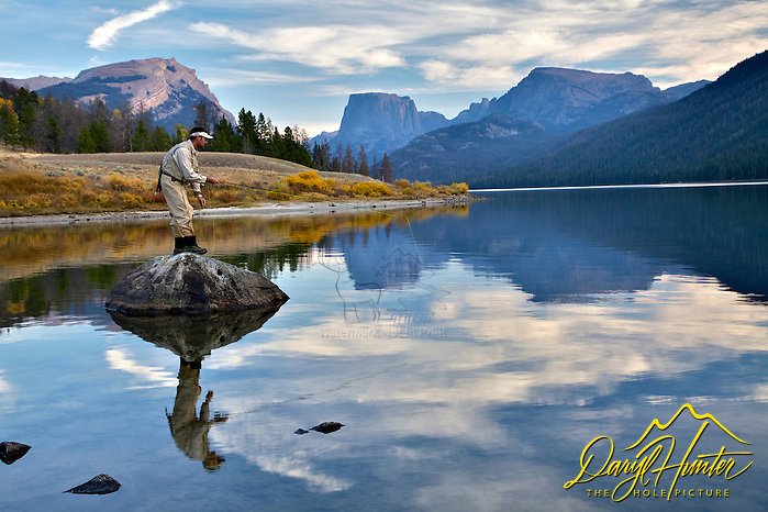 Fly-fisherman, Square Top, Mountina, Green River Lake, Wind River Mountains, Pinedale, Wyoming, (and his 35mm�s and headed to Jackson Hole Wyoming. Besides selling photography Daryl also publishes the Greater Yellowstone Resource Guide www.greater-yellowstone.com.)