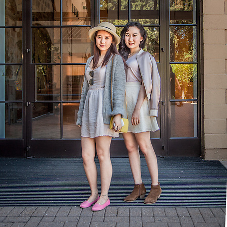 Sisters Ruby and Chang at the entrance of the Hess Collection, Napa, CA.  meimesw@yeah.net (© Clark James Mishler)