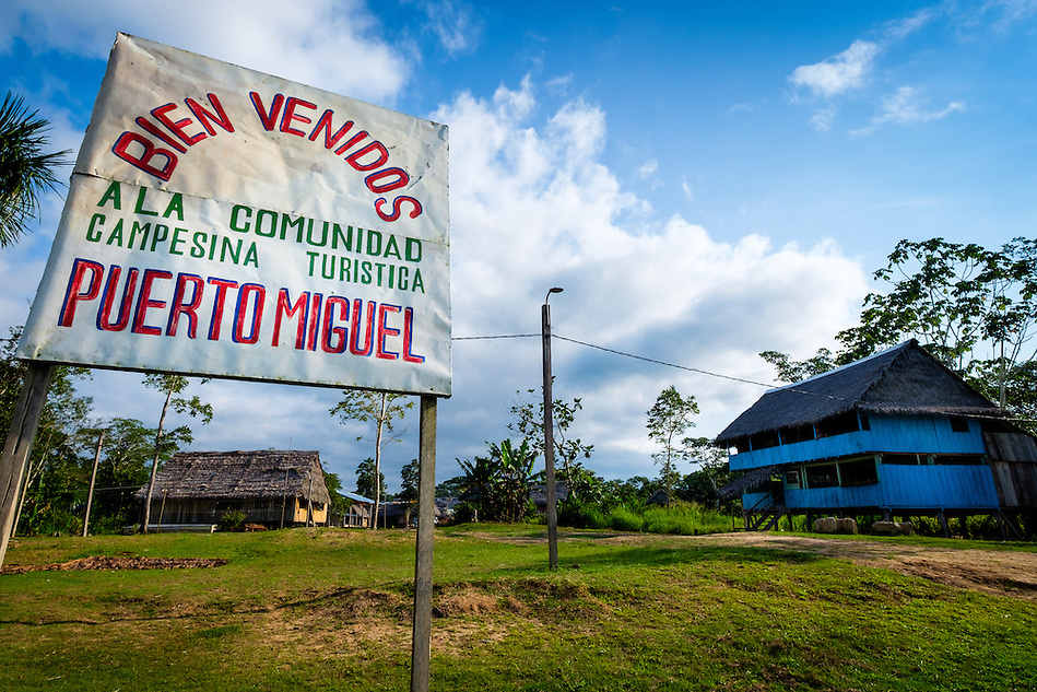 LORETO, PERU - CIRCA OCTOBER 2015: Village of Puerto Miguel, in the Yarapa river in the Peruvian Amazon. (Daniel Korzeniewski)
