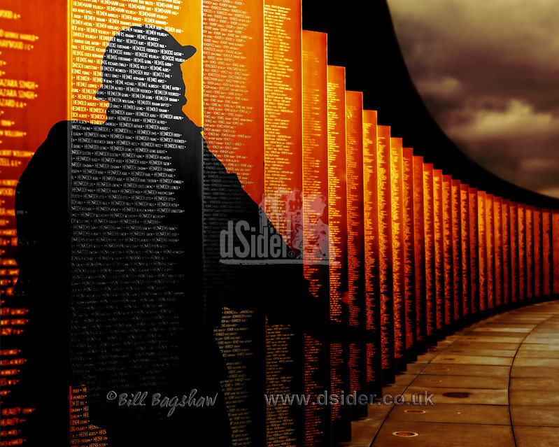 Silhouette of soldier at Ring of Remembrance Notre Dame de Lorette Northern France. The ring of Remembrance memorial commemorates 580,000 soldiers of all nationalities killed in Northern France. Bronze panels are engraved with the names of all the soldiers who died on the battlefields of Pas-de-Calais France during WWI. World War 1 was from 1914-1918. Known in France as Anneau de la Mémoire or officially known as Mémorial International Notre-Dame-de-Lorette. (copyright Bill Bagshaw/M.Williams all rights reserved)