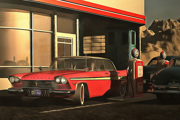 This image depicting an old-time Plymouth at a rural gas station brings to mind warm memories of warm summer nights. It brings to mind the music of Bruce Springsteen. It creates a powerful connection between ourselves and our memories. At the same time, the scene is simply an engaging one. It is a beautiful car on a beautiful early evening. The tank is almost full. The night is going to have something to offer. The sooner you get out on the road, the sooner you can experience it yourself. Available as wall art, t-shirts, or as interior products. (Jan Keteleer)