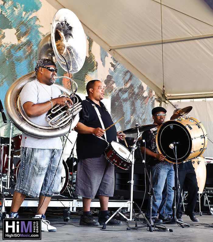 Forgotten Souls Brass Band playing at Jazz Fest 2011 in New Orleans, LA on day 5. (Golden G. Richard III)
