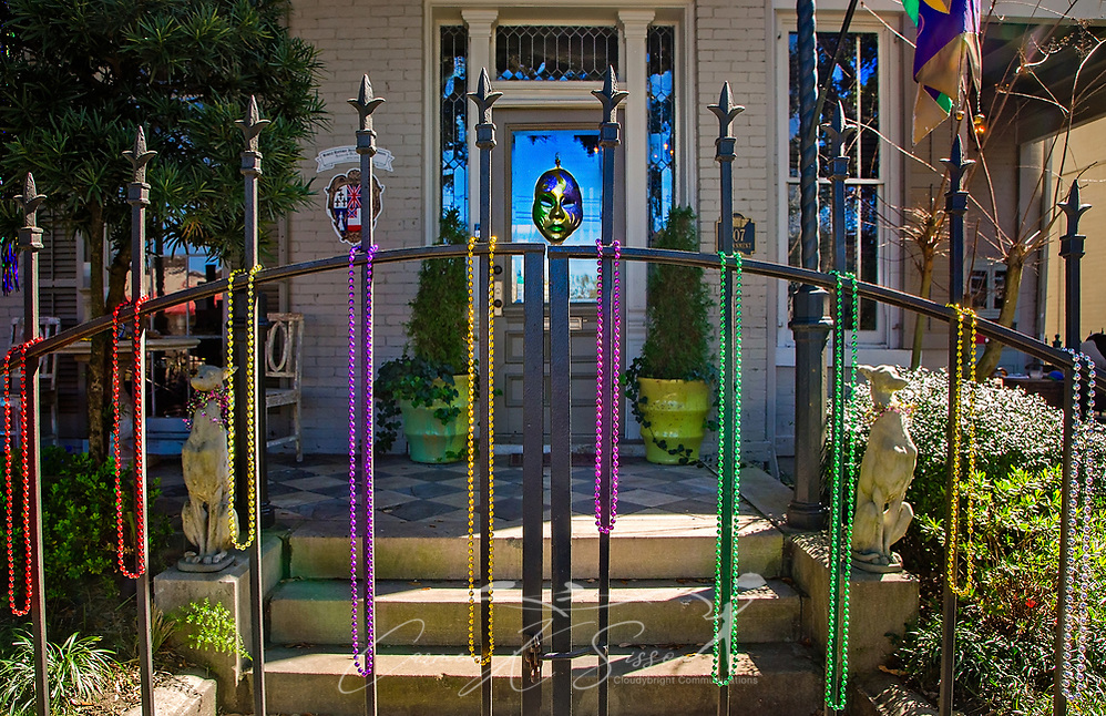 A fence on Government Street is decorated for Mardi Gras, Feb. 26, 2017, in Mobile, Alabama. French settlers held the first Mardi Gras in 1703, making Mobile's celebration the oldest Mardi Gras in the United States. (Photo by Carmen K. Sisson/Cloudybright) (Carmen K. Sisson/Cloudybright)